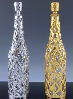 2 SUPERBc1890 CHINESE BAMBOO DESIGN FRENCH STERLING SILVER CASED GLASS DECANTERS