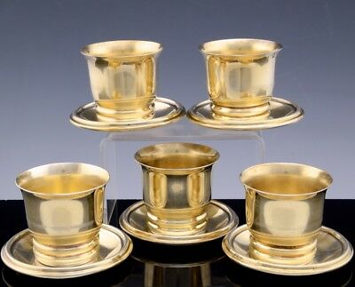 Exquisite Set 5 Antique French Gold Gilt Sterling Silver Espresso Cups & Saucers