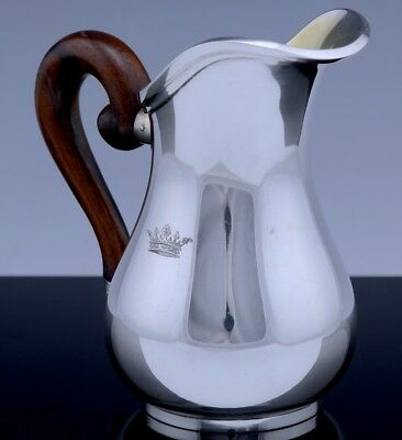 Best Art Deco Robert Linzeler French 950 Sterling Silver Crown Armorial Creamer