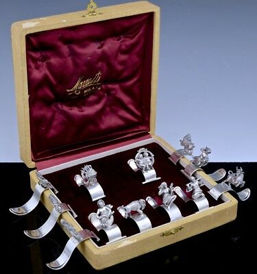 Rare Set 12 Mazzetti Italian 800 Solid Silver Figural Place Card Holders - Cased