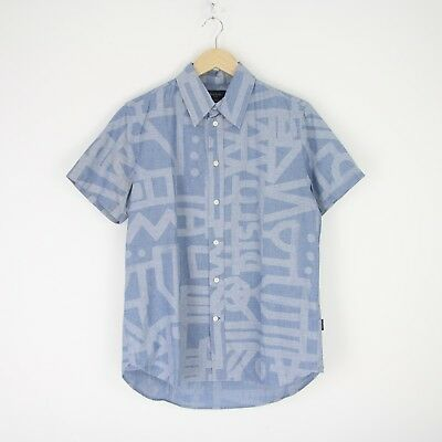 Vintage Mens Paul Smith Jeans Font Short Sleeve Chambray Shirt M Cotton 2849