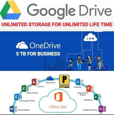 UNLIMITED FOR GOOGLE DRIVE STORAGE + ONEDRIVE 5tb 365 MIC NEW Pay 5 win 1