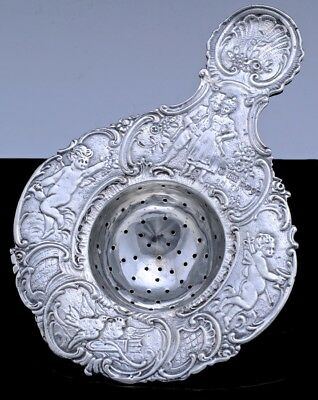 GORGEOUS c1899 GERMAN STERLING SILVER FIGURAL SCENIC TEA STRAINER CHESTER IMPORT