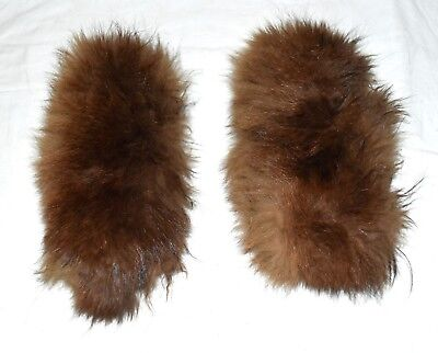 """Vintage Brown Fox Fur Pair of Fluffy Lined Cuffs 14"""" Circumference 4"""" Wide"""