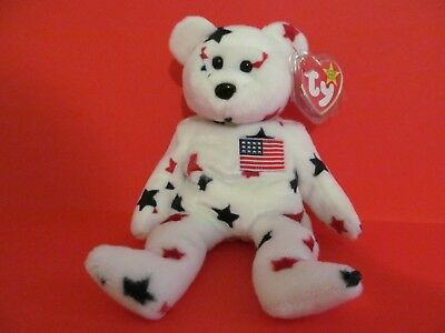 """1997 RARE Ty Beanie Baby - """"Glory"""" the bear with tag errors & tag protector-NEW!"""