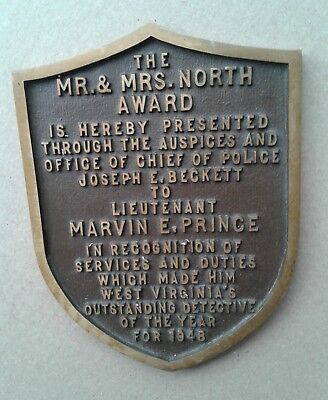 1948 West Virginia Detective Of The Year Award Brass