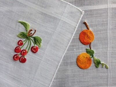 Two Lovely Vintage FRENCH BEAUVAIS Fruit Embroidered Linen Cocktail Napkins