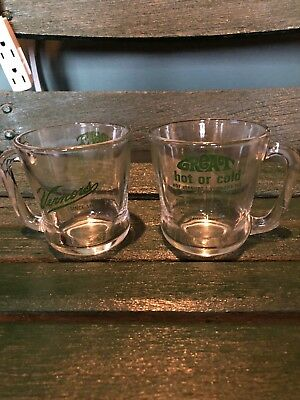 (2) vintage VERNORS glass cups 100th ANNIVERSARY 1966 ginger ale Recipes Detroit