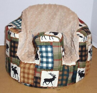 New Bumbo Floor Seat COVER •Bear Moose Cabin/Lodge Patchwork• Safety Strap Ready