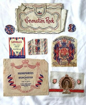 RARE Lot 1953 Queen Elizabeth II Coronation Souvenir Paper Candy/Sweets Wrappers