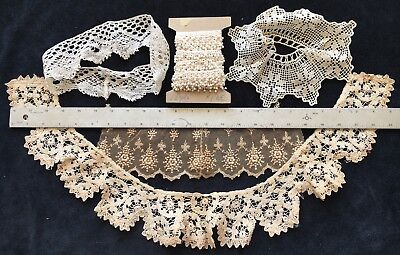 ANTIQUE LACE LOT, Vintage White/Cream Floral Embroidery Tulle Trim Ribbon Fabric