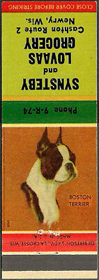 vintage ~ SYNSTEBY and LOVASS GROCERY ~ dog matchbook cover NEWRY, WI wisconsin