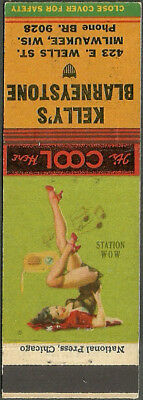 GIRLIE pin-up KELLY'S BLARNEYSTONE TAVERN matchbook cover MILWAUKEE wisconsin WI