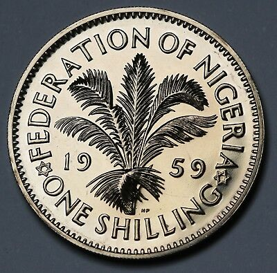 1959 Nigeria Shilling Proof Coin KM #5   6031 Minted Rare FDC Beauty