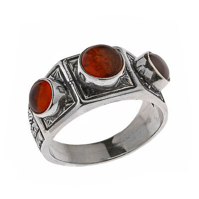 Savati ~ Sterling Silver Multi Stone Byzantine Band Ring with Amber