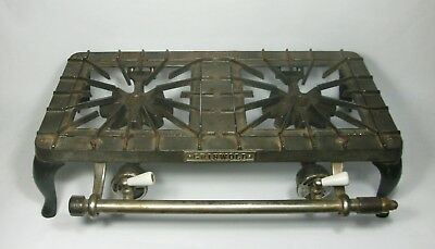 D Vtg Antique GRISWOLD Cast Iron 702 DOUBLE BURNER HOT PLATE Gas Table Top  Stove