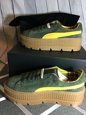 quality design 064a1 84008 NIB PUMA FENTY by Rihanna CLEATED CREEPER SUEDE Women's Sneakers Green  Yellow