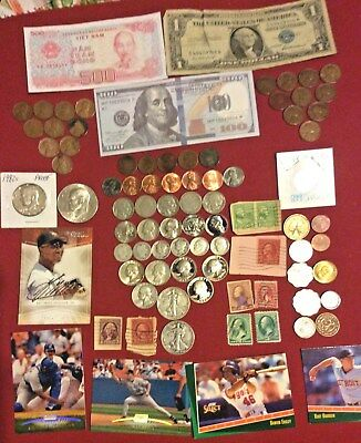 Mixed Lot Junk Drawer Collectibles,Stamps, Cards,Silver Coins & More #201