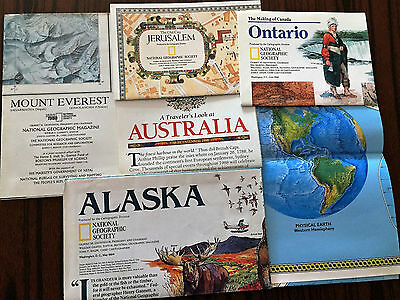 Lot Of 11 Vintage National Geographic Maps & Supplements