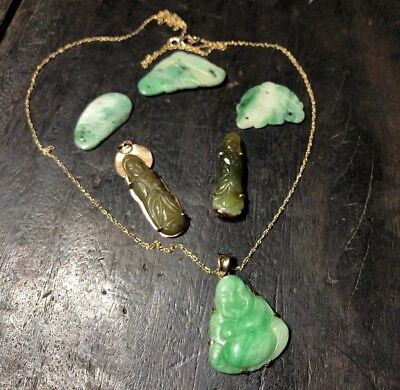 Chinese Antique Green Jade Buddhas Pendants 18K Necklace Lots Of 6 Asian China