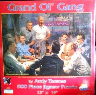 Grand Ol Gang 500 Pc Jigsaw Puzzle Andy Thomas New 19387 Republican Presidents