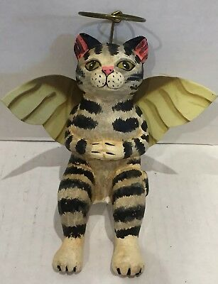 Vintage Hand Painted Wooden Cat Ornament By Tiger Lily 1997 Metal Winged