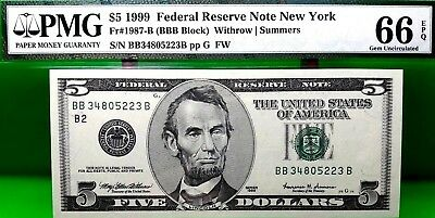 Money Us $5 1999 Federal Reserve New York Pmg Fr 1978 B Value $100 Rare
