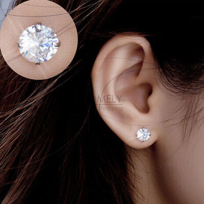 1 pair CZ Cubic Zirconia Crystal Earrings Ear Stud Round Square Elegant Jewelry