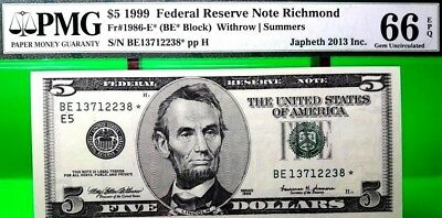 Money $5 1999 Federal Reserve Star Note Richmond Pmg Gem Unc Fr 1968 E*