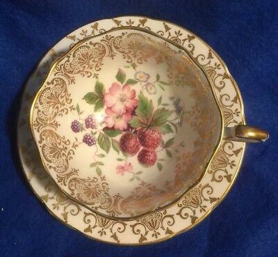 Paragon Footed Tea Cup Strawberries Blackberries Bell Flower Floral Fancy Gold