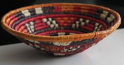 """Hand Woven Native Tribal African Coiled Natural Fiber Basket Bowl 12""""NEW"""