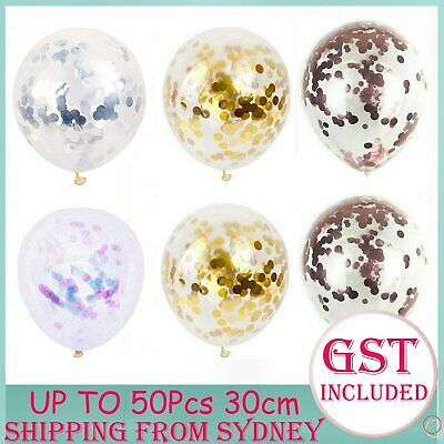 10-50Pcs 30cm Rose Clear Confetti Sequins Latex Helium Balloon Party Balloons AU