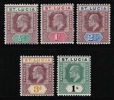 St. Lucia 1902-03 King Edward VII set to 1s., MH (SG#58/62)