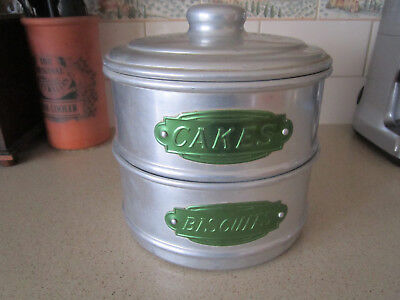 Vintage polished aluminum biscuit and cake canister