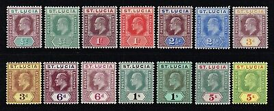St. Lucia 1904-10 King Edward VII set to 5s., MH (SG#64/77)