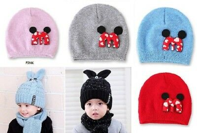 21170c2cfd0 Winter Warm Suit Set Baby Kids Thick Cable Knitted Cap Rabbit Ear Hat and  Scarf