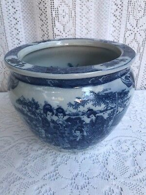 Vintage Satsuma Blue And White Porcelain Fishbowl Planter With