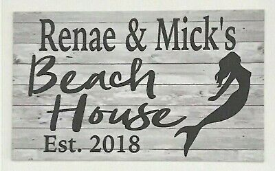 Beach House Custom Personalised Name Tropical Mermaid Sign Wall Plaque Hanging