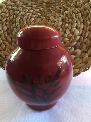 Beautiful Vibrant Burgandy Lidded Ginger Jar