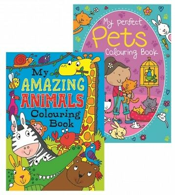2 x A4 CHILDREN'S MY PETS AMAZING ANIMALS  WHITE PAGE COLOURING Books Fun 100gsm