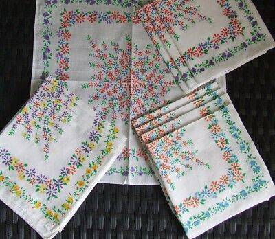 Lovely Set of 12 Vintage Printed Cotton Handkerchiefs