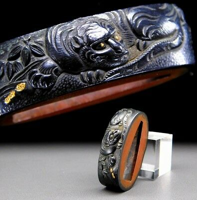 FINE Tiger FUCHI 18-19thC Japanese Edo Samurai Koshirae Antique Fitting