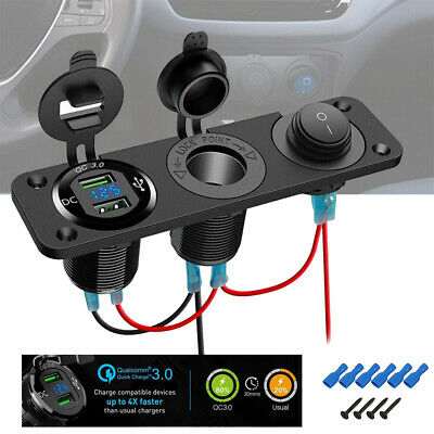 AU 6 Gang ON-OFF Toggle Switch Panel 2USB 12V for Car SUV Marine RV Truck Camper