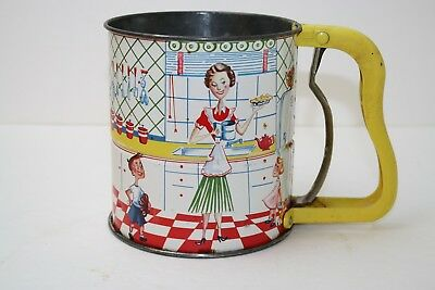 Vintage Androck Hand I Sift 3 screen flour Sifter 1950's Tin Litho Kitchen Scene