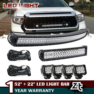 """Curved 52Inch LED Light Bar + 22in +4"""" CREE PODS OFFROAD SUV 4WD ATV VS 50/20"""