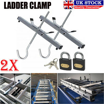 Universal Heavy Duty Ladder Roof Rack Clamp Clamps Lockable Free Locks Ladders K
