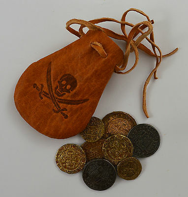 8 Spanish Armada Gold/Silver Doubloons & Leather Pouch Coins/Pirates/Treasure