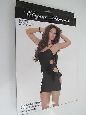 Elegant Moments Clubwear Opaque Mini Dress With Cut Out Sides and Bow Detail, OS