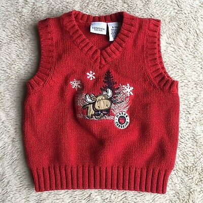 32754ac3f BABY BOYS-SIZE 6-9 Months-Red Cable-Knit Sweater Vest-Christmas-Fall ...