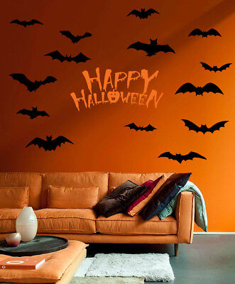 HAPPY HALLOWEEN mixed size bats pumpkin fright night wall window stickers decals